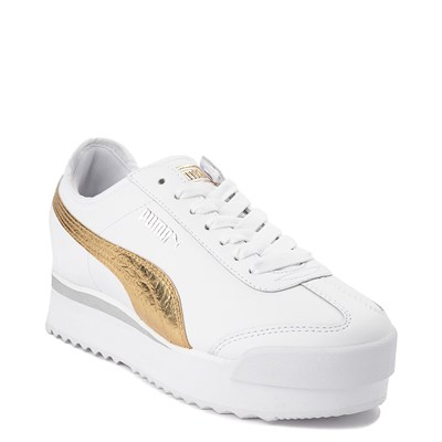 Alternate view of Womens Puma Roma Amor Platform Athletic Shoe - White / Gold