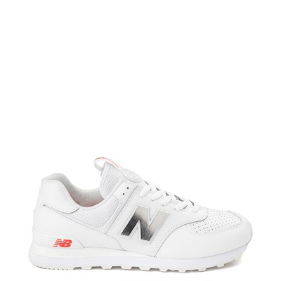 Main view of Mens New Balance 574 Metal Athletic Shoe - White