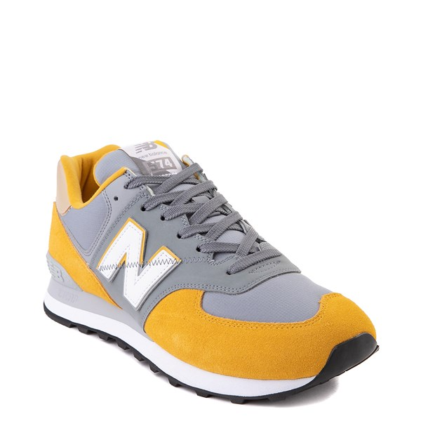 alternate view Mens New Balance 574 Split Sail Athletic Shoe - Yellow / GreyALT1