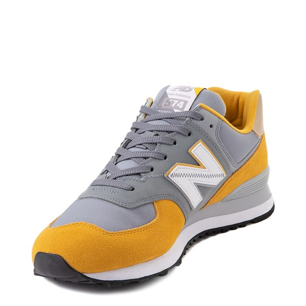 alternate view Mens New Balance 574 Split Sail Athletic Shoe - Yellow / GreyALT3