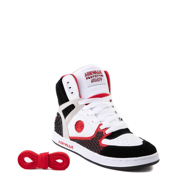 alternate view Mens Airwalk Prototype 600°F Hi Skate Shoe - Black / White / RedALT1
