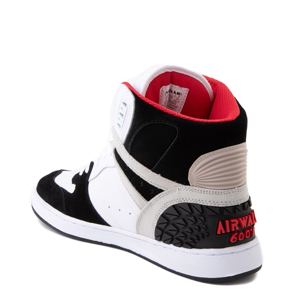 alternate view Mens Airwalk Prototype 600°F Hi Skate Shoe - Black / White / RedALT2