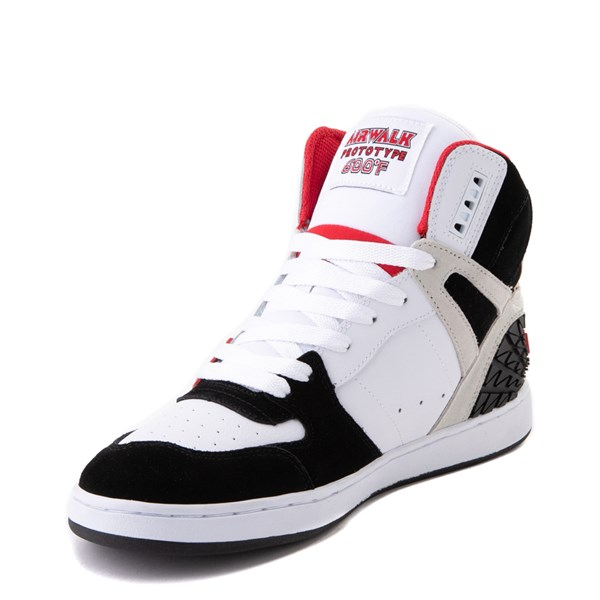 alternate view Mens Airwalk Prototype 600°F Hi Skate Shoe - Black / White / RedALT3