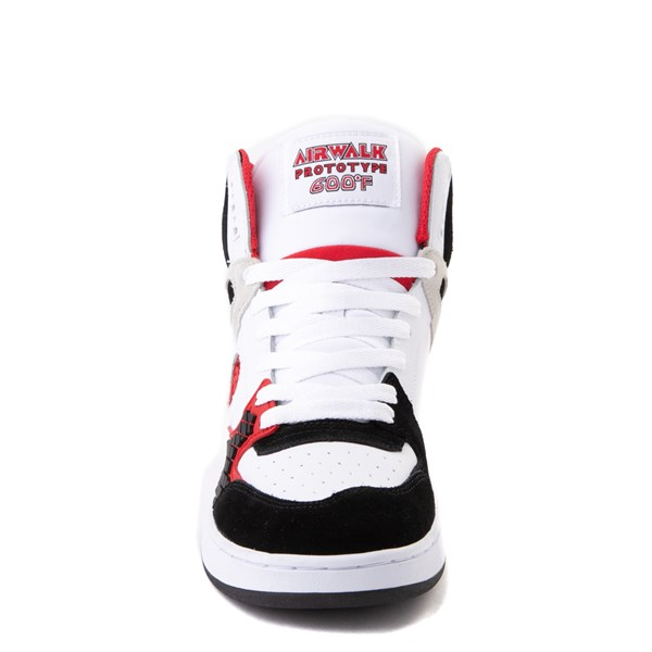 alternate view Mens Airwalk Prototype 600°F Hi Skate Shoe - Black / White / RedALT4