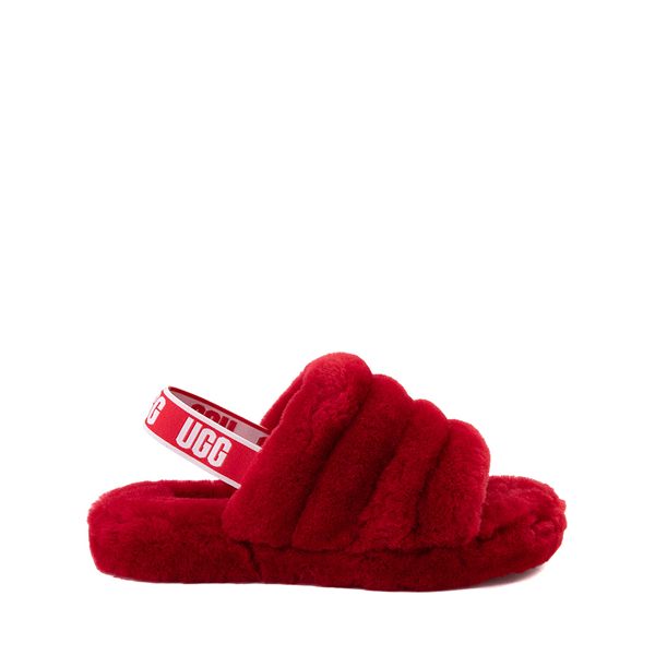 Main view of UGG® Fluff Yeah Slide Sandal - Little Kid / Big Kid - Ribbon Red