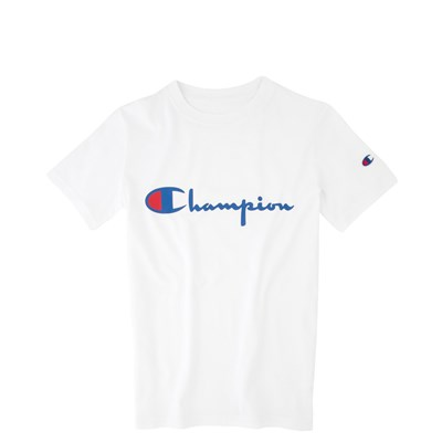 Main view of Champion Script Logo Tee - Little Kid / Big Kid - White