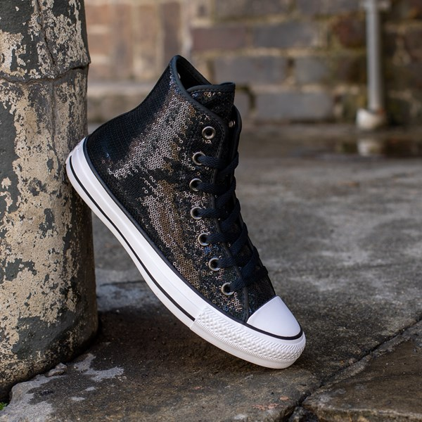 alternate view Converse Chuck Taylor All Star Hi Sequin Sneaker - BlackALT1B