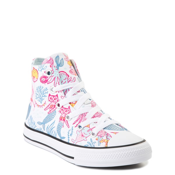 alternate view Converse Chuck Taylor All Star Hi Mermaids Sneaker - Little Kid / Big Kid - White / MultiALT1C