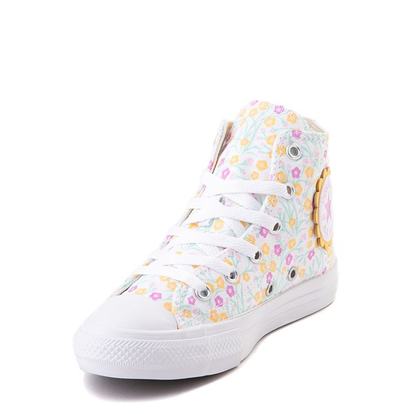 alternate view Converse Chuck Taylor All Star Hi Floral Sneaker - Little Kid / Big Kid - WhiteALT3