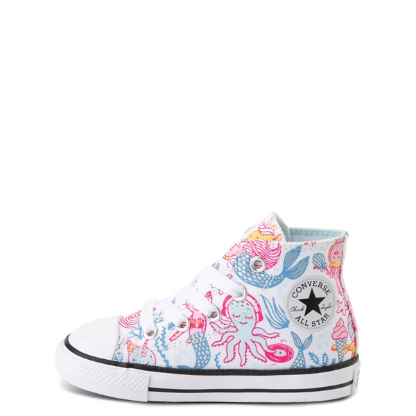 alternate view Converse Chuck Taylor All Star Hi Mermaids Sneaker - Baby / Toddler - White / MultiALT1