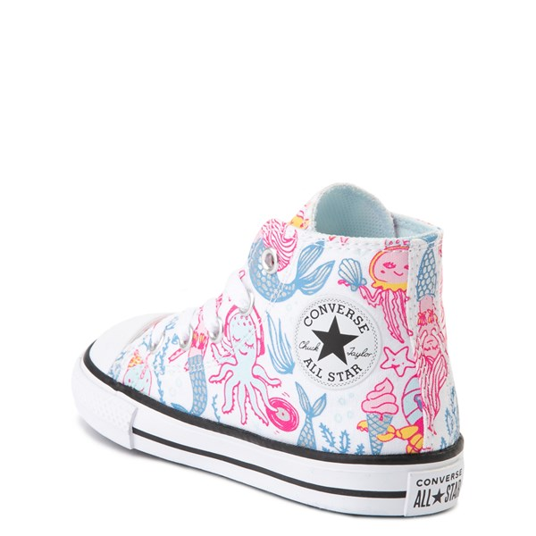 alternate view Converse Chuck Taylor All Star Hi Mermaids Sneaker - Baby / Toddler - White / MultiALT2