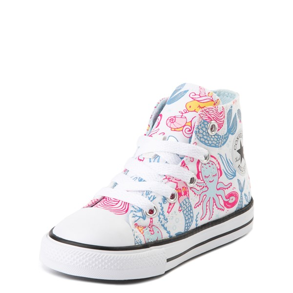 alternate view Converse Chuck Taylor All Star Hi Mermaids Sneaker - Baby / Toddler - White / MultiALT3
