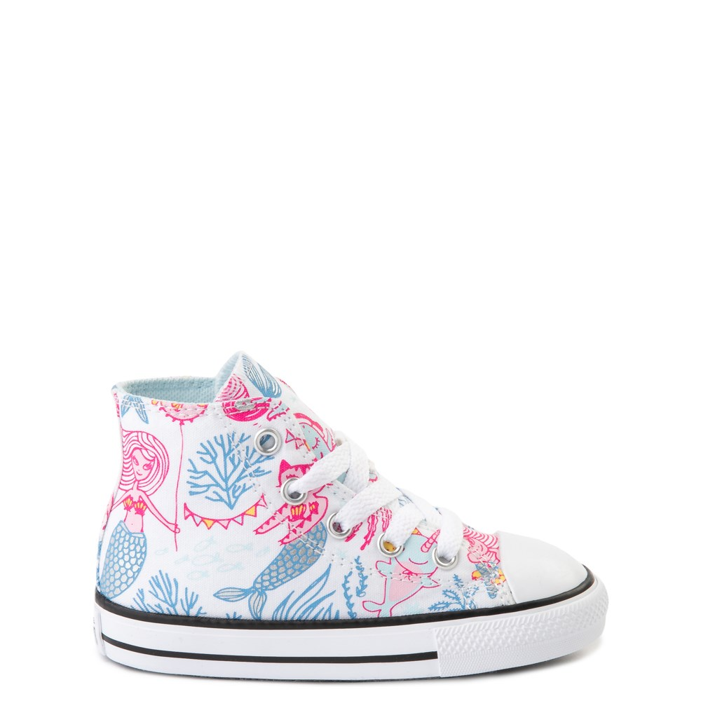 Converse Chuck Taylor All Star Hi Mermaids Sneaker - Baby / Toddler - White / Multi