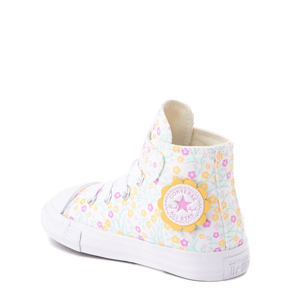 alternate view Converse Chuck Taylor All Star 1V Hi Floral Sneaker - Baby / Toddler - WhiteALT2