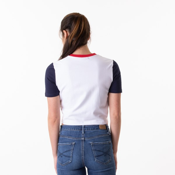 alternate view Womens Fila Anna Cropped Tee - White / Navy / RedALT1