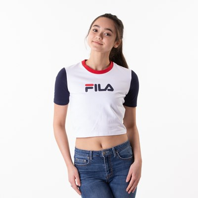 Main view of Womens Fila Anna Cropped Tee - White / Navy / Red