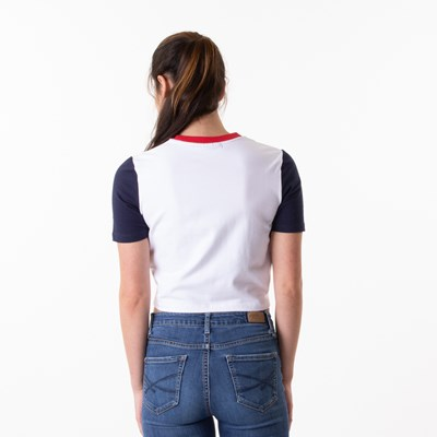 Alternate view of Womens Fila Anna Cropped Tee - White / Navy / Red