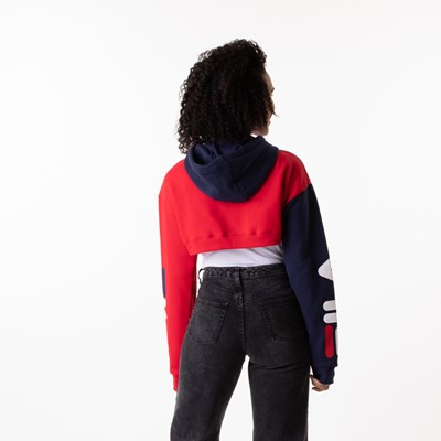 Alternate view of Womens Fila Edie Cropped Hoodie - Navy / Red