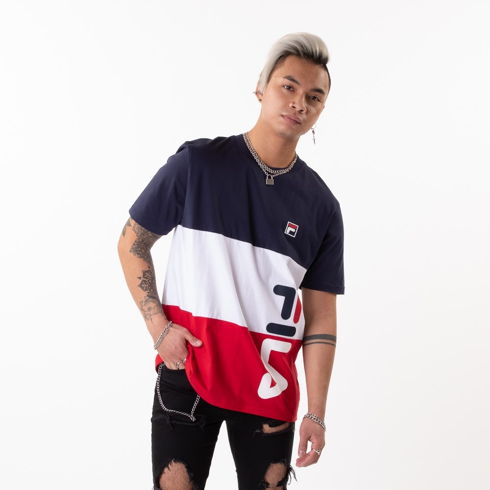 Mens Fila Alfredo Tee - White / Navy / Red