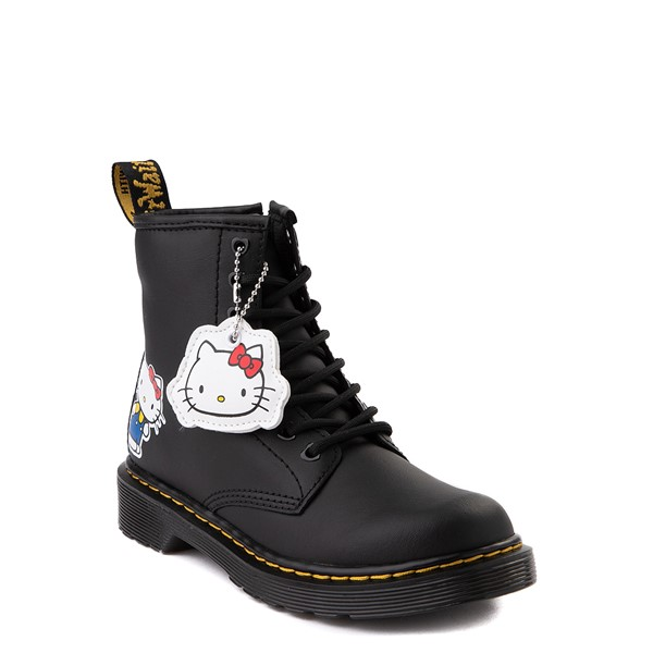 alternate view Dr. Martens x Hello Kitty® 1460 8-Eye Boot - Little Kid / Big Kid - BlackALT1