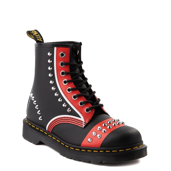 alternate view Dr. Martens 1460 8-Eye Stud Boot - Black / RedALT1