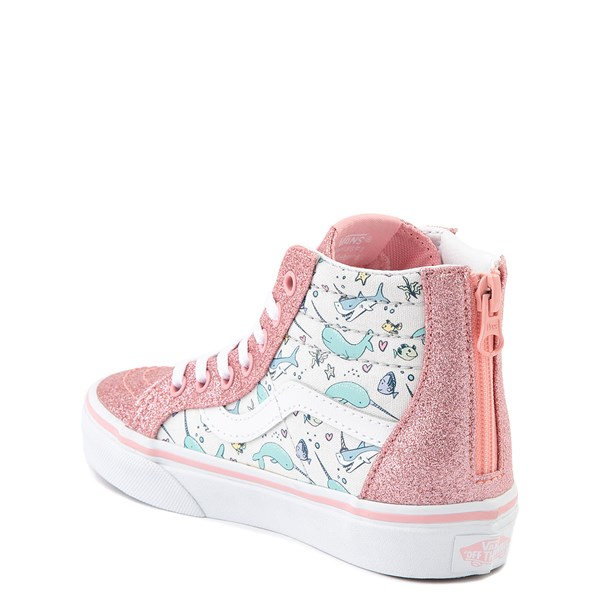 alternate view Vans Sk8 Hi Zip Shark Party Skate Shoe - Little Kid - PinkALT2