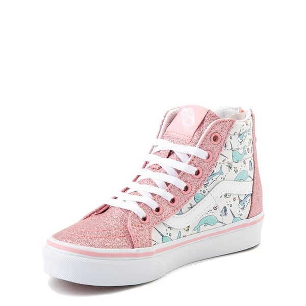 alternate view Vans Sk8 Hi Zip Shark Party Skate Shoe - Little Kid - PinkALT3