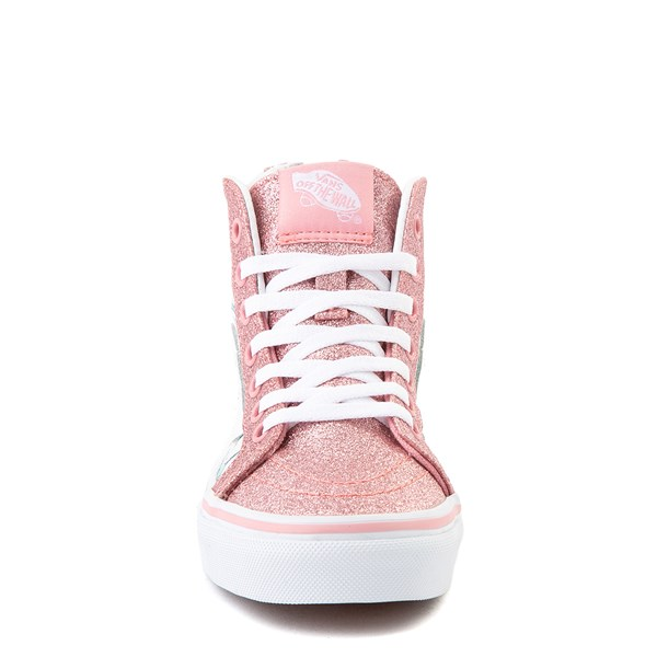 alternate view Vans Sk8 Hi Zip Shark Party Skate Shoe - Little Kid - PinkALT4