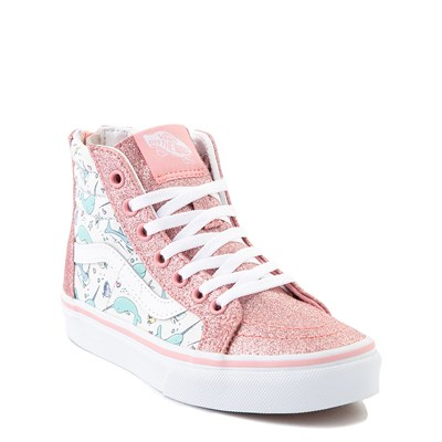 Alternate view of Vans Sk8 Hi Zip Shark Party Skate Shoe - Little Kid - Pink