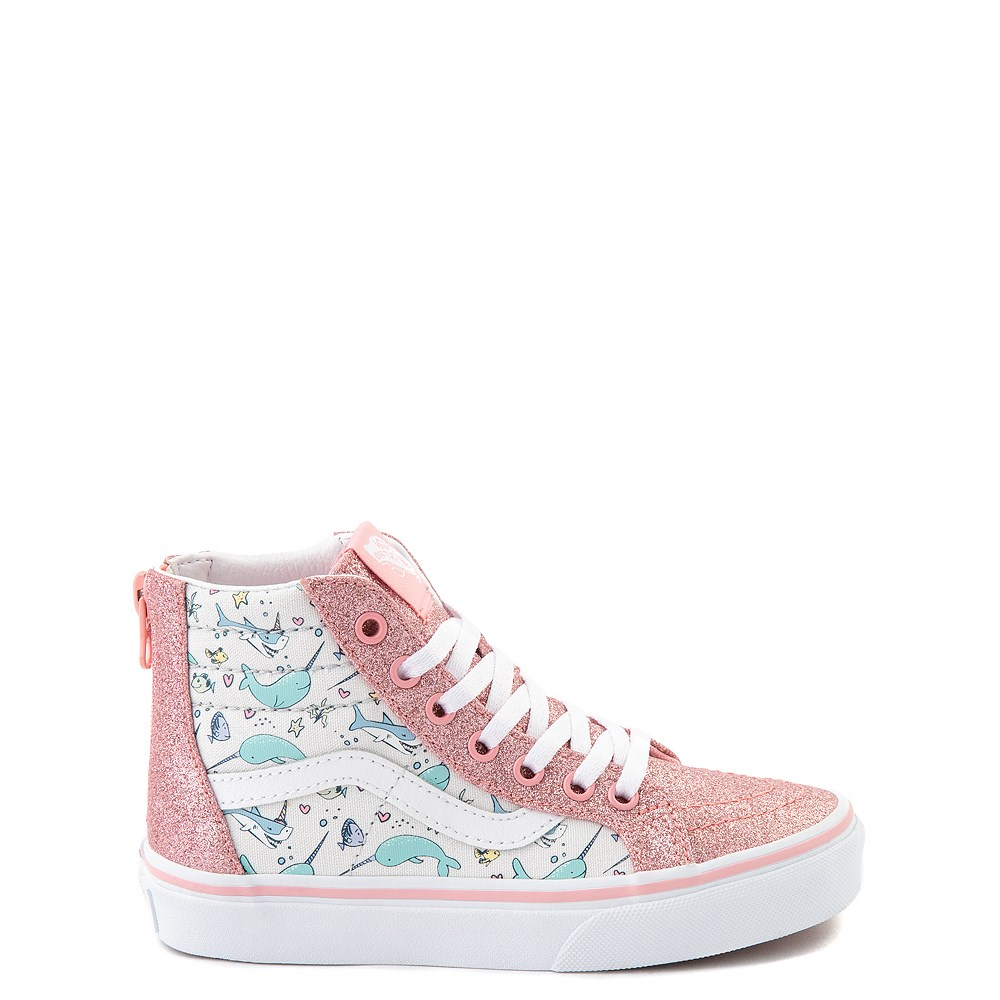 Vans Sk8 Hi Zip Shark Party Skate Shoe - Little Kid - Pink
