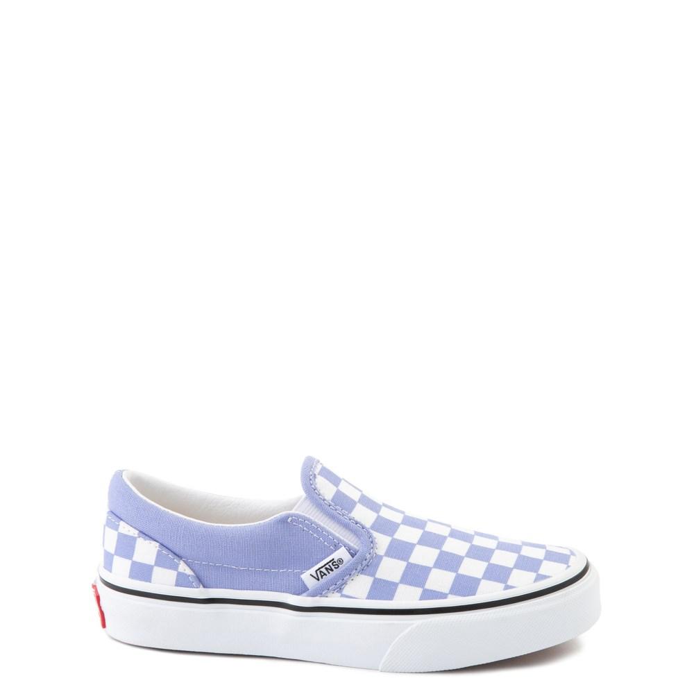 Vans Slip On Checkerboard Skate Shoe - Big Kid - Pale Iris / White
