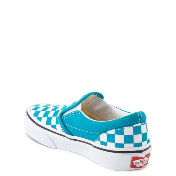 alternate view Vans Slip On Checkerboard Skate Shoe - Big Kid - Caribbean Sea / WhiteALT2