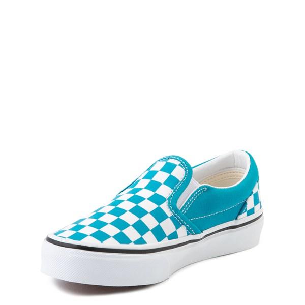 alternate view Vans Slip On Checkerboard Skate Shoe - Big Kid - Caribbean Sea / WhiteALT3