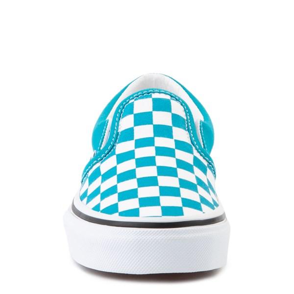 alternate view Vans Slip On Checkerboard Skate Shoe - Big Kid - Caribbean Sea / WhiteALT4