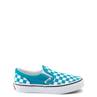 Main view of Vans Slip On Checkerboard Skate Shoe - Big Kid - Caribbean Sea / White