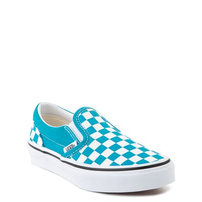 Alternate view of Vans Slip On Checkerboard Skate Shoe - Big Kid - Caribbean Sea / White