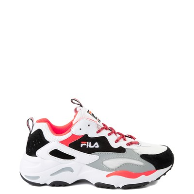 Main view of Womens Fila Ray Tracer Athletic Shoe - White / Black / Coral