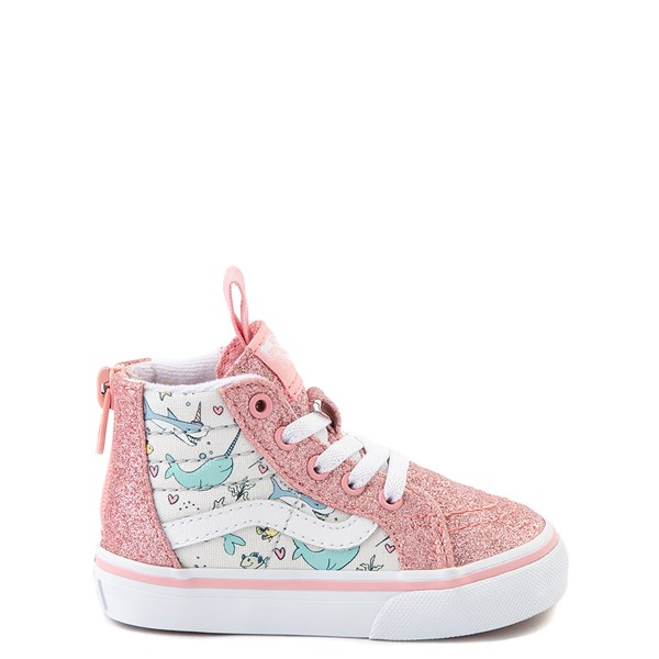 Default view of Vans Sk8 Hi Zip Shark Party Skate Shoe - Baby / Toddler - Pink