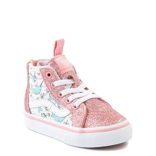 Alternate view of Vans Sk8 Hi Zip Shark Party Skate Shoe - Baby / Toddler - Pink