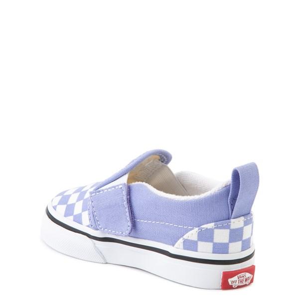 alternate view Vans Slip On V Checkerboard Skate Shoe - Baby / Toddler - Pale Iris / WhiteALT2
