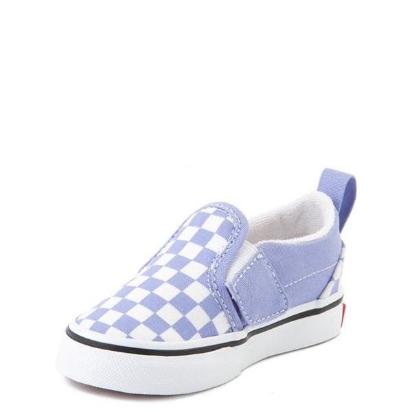 alternate view Vans Slip On V Checkerboard Skate Shoe - Baby / Toddler - Pale Iris / WhiteALT3