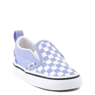 Alternate view of Vans Slip On Checkerboard Skate Shoe - Baby / Toddler - Pale Iris / White