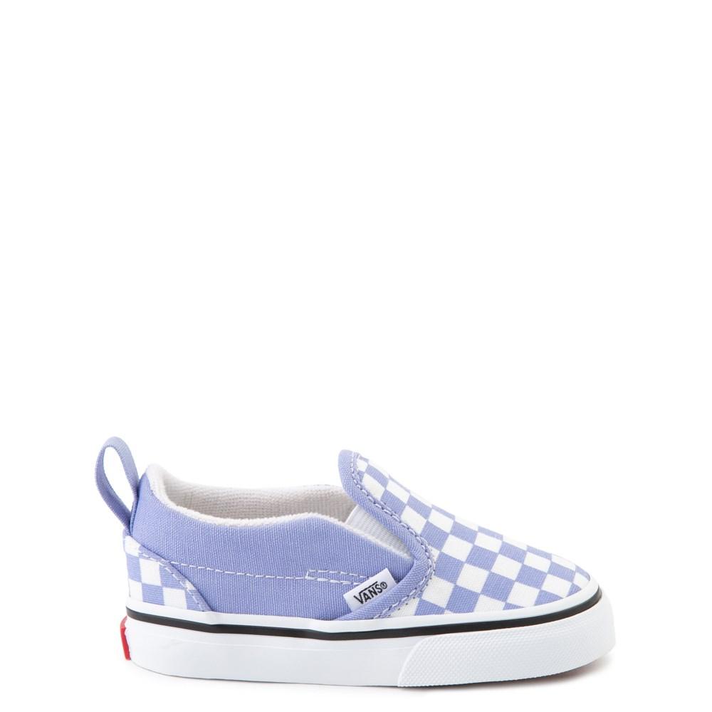 Vans Slip On V Checkerboard Skate Shoe - Baby / Toddler - Pale Iris / White