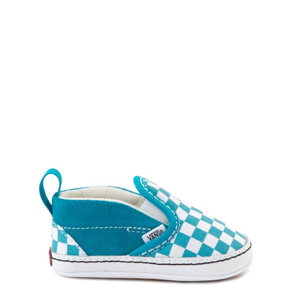 Default view of Vans Slip On Checkerboard Skate Shoe - Baby - Caribbean Sea / White