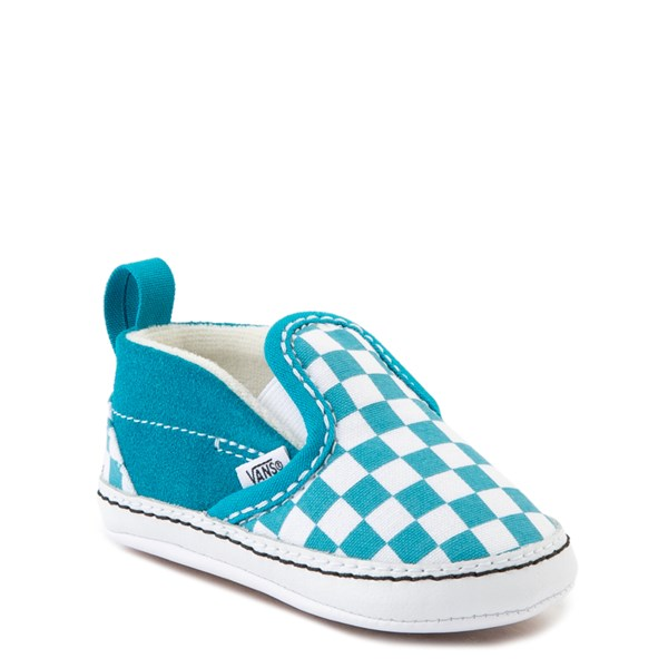 Alternate view of Vans Slip On Checkerboard Skate Shoe - Baby - Caribbean Sea / White