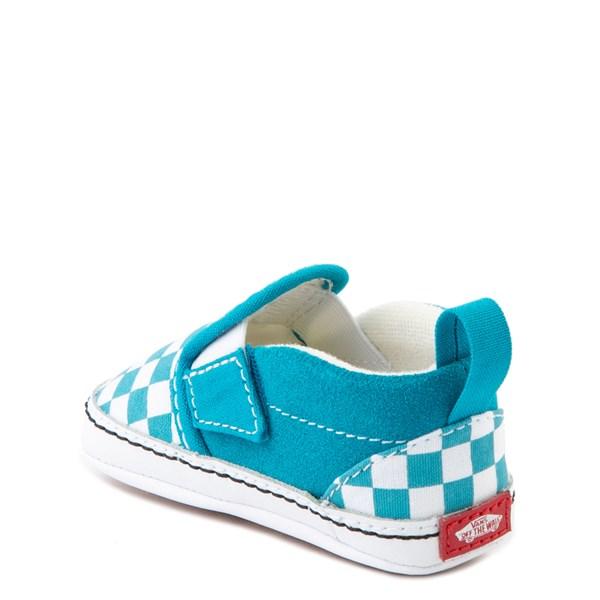 alternate view Vans Slip On Checkerboard Skate Shoe - Baby - Caribbean Sea / WhiteALT2