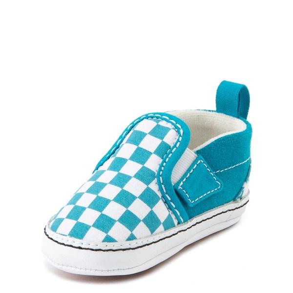 alternate view Vans Slip On Checkerboard Skate Shoe - Baby - Caribbean Sea / WhiteALT3