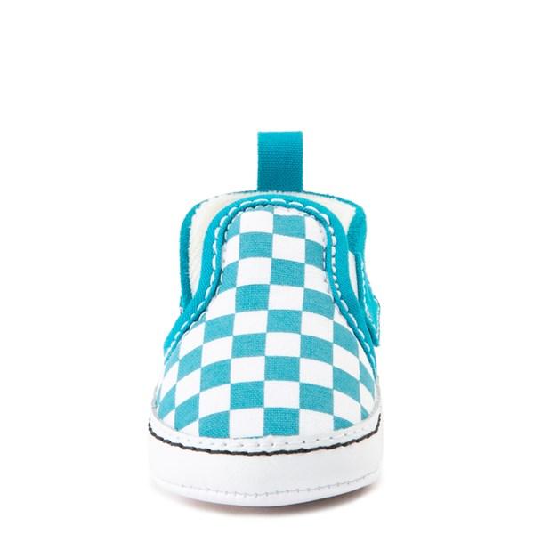 alternate view Vans Slip On Checkerboard Skate Shoe - Baby - Caribbean Sea / WhiteALT4