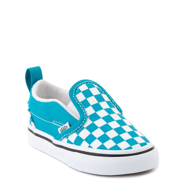alternate view Vans Slip On Checkerboard Skate Shoe - Baby / Toddler - Caribbean Sea / WhiteALT1