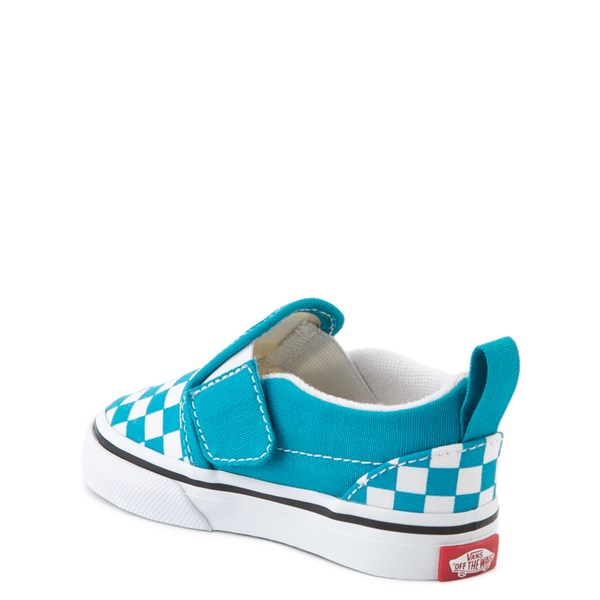 alternate view Vans Slip On Checkerboard Skate Shoe - Baby / Toddler - Caribbean Sea / WhiteALT2